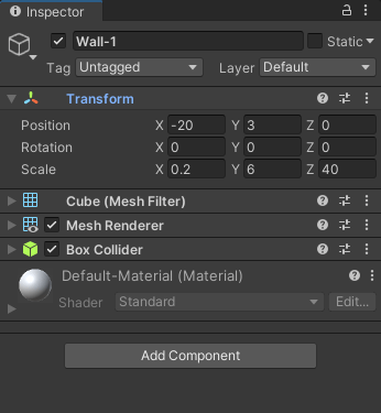 The Unity Inspector showing the Transform values for a wall