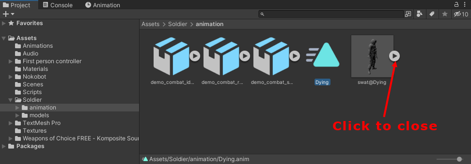 The dying animation highlighted in the projects folder of Unity