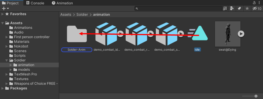 Dragging the idle animation onto a folder