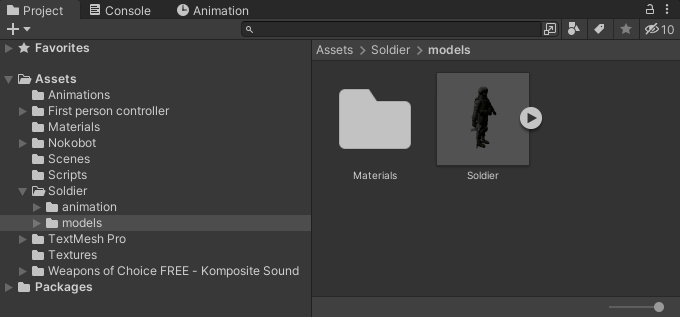 The soldier model imported into Unity