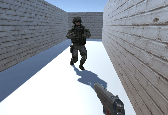 The soldier in the Run animation state