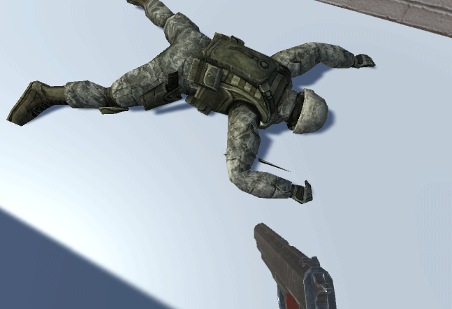 A soldier face down demonstrating an issue with the animation
