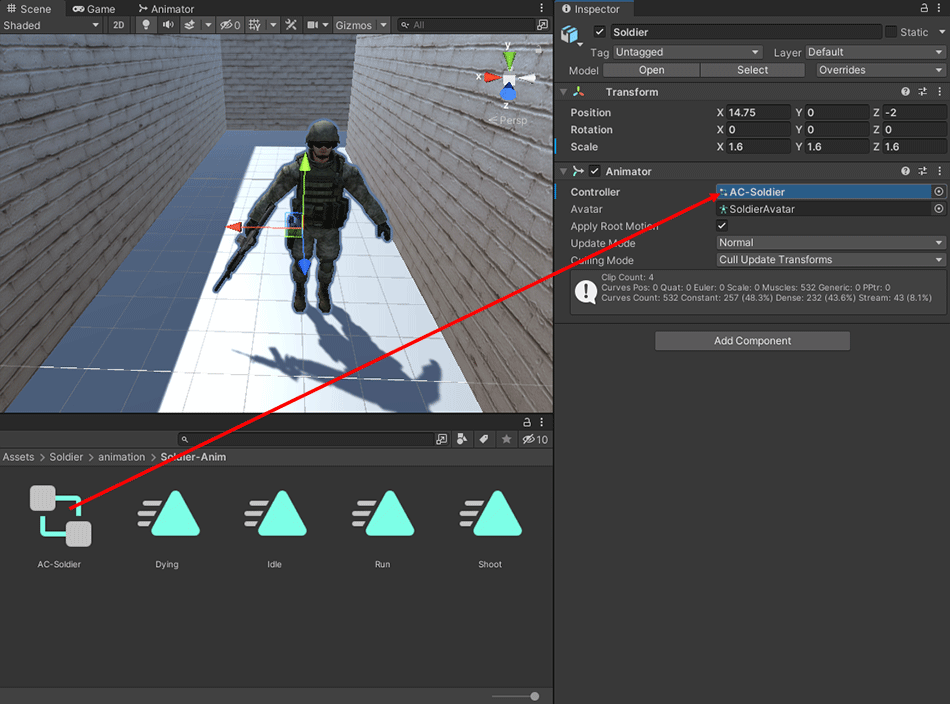 Dragging and dropping an animator controller onto the Inspector