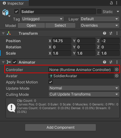 The Controller section of the Animator component