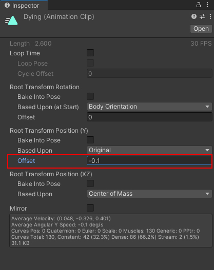 The Offset for Root Transform Position of an animation clip