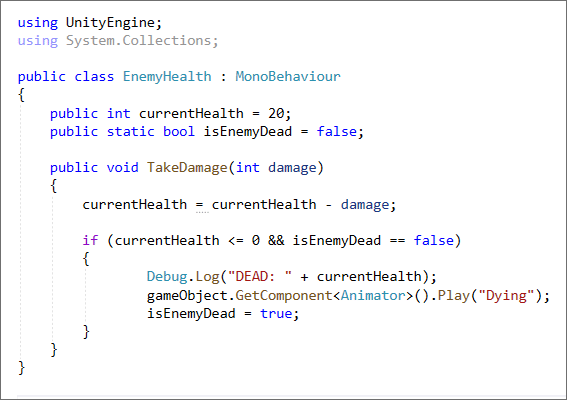 Unity C# code to reduce an enemy's health