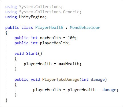 Unity C# code to reduce a player's health