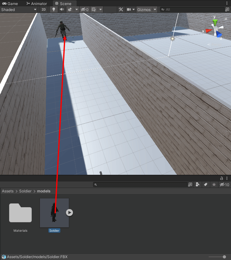 Dragging and dropping a 3D model into a scene in Unity