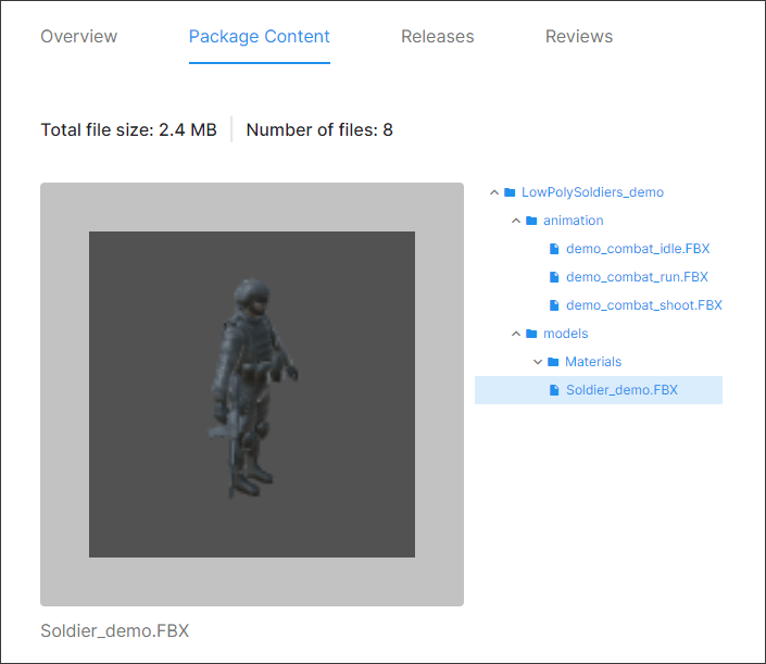 A soldier model in the Unity Asset store