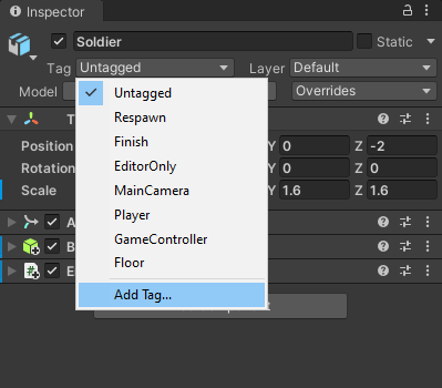 Unity menu showing the Add Tag item highlighted