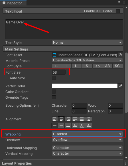 Font settings for a game over panel