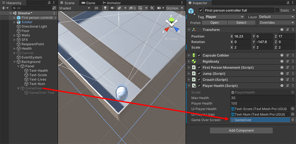 Dragging a game over screen from the Hierarchy to the Inspector in Unity 3D