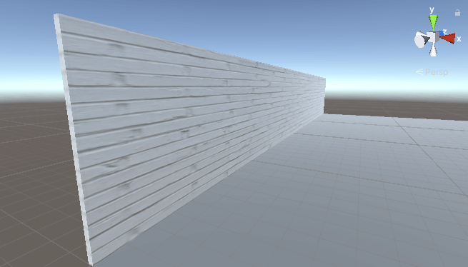 Scene view showing the wall with a brick texture on it