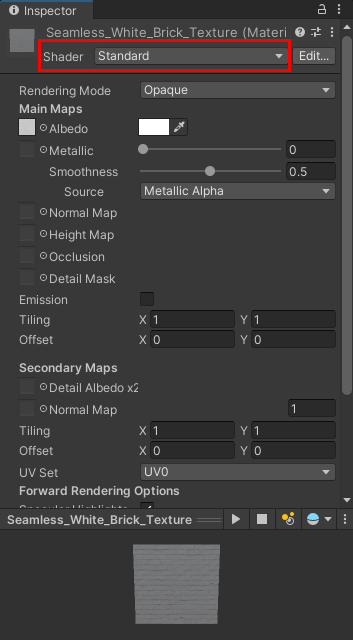 The Standard Shader highlighted in the Inspector