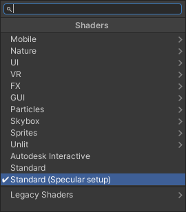 Switching to the Standard Specular shader