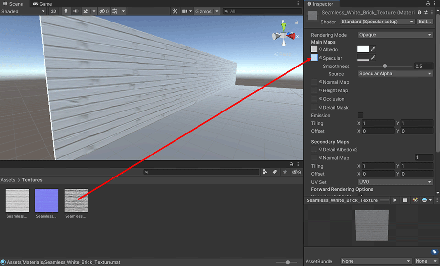 Dragging a specular map onto the Inspector