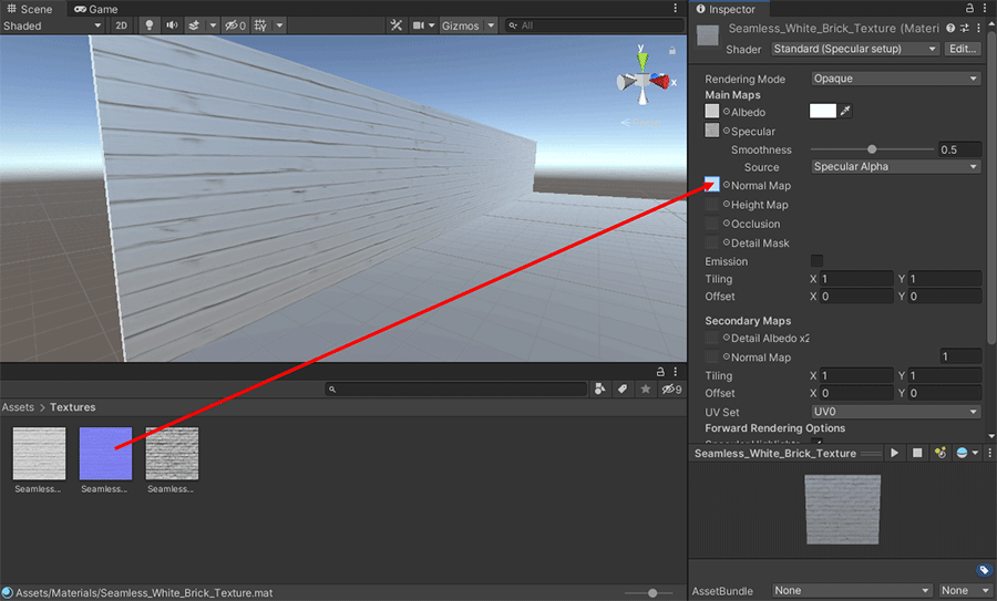 Dragging a normal map onto the Inspector in Unity
