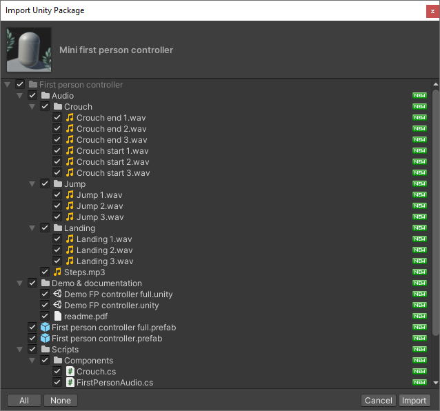 Importing an asset from the package manager in Unity