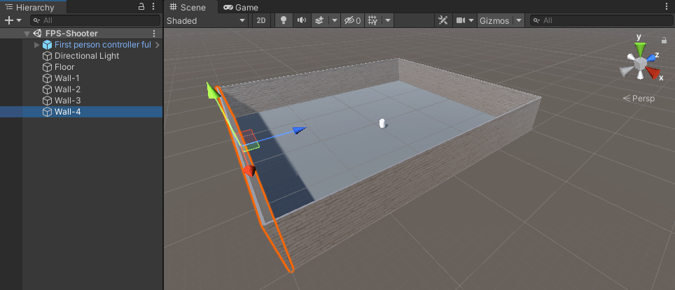A scene in Unity with four walls and a floor