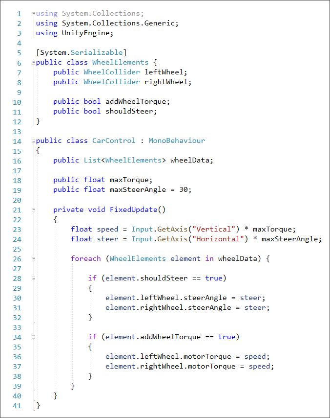 C# Unity code to create torque and steer to wheel colliders