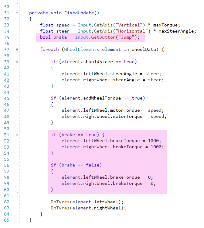 C# Unity code showing how to add brakes to a car