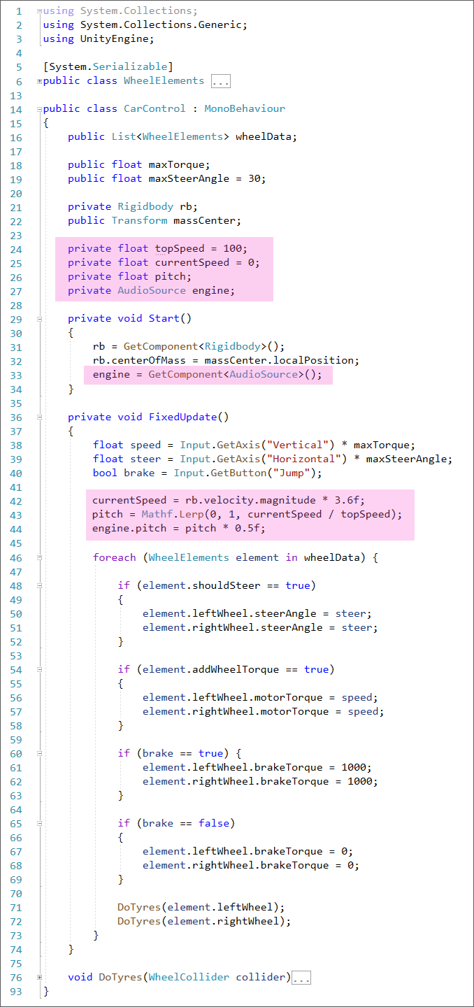 C# Unity code to change the pitch of an audio file to simulate an engine sound