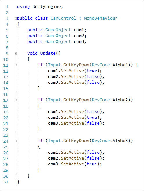 Unity C# code to switch cameras when a number is pressed on the keyboard