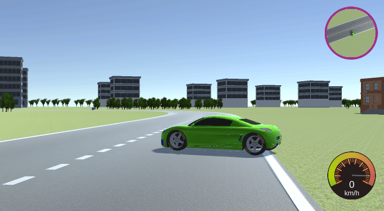 Unity 3D racing game showing car, terrain, minimap, and speedometer