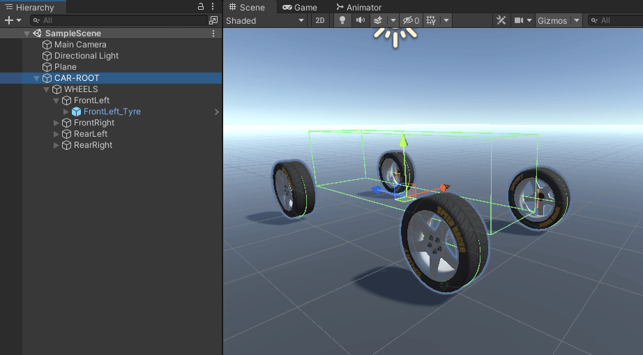 All four tyres added to the wheel colliders in Unity scene view