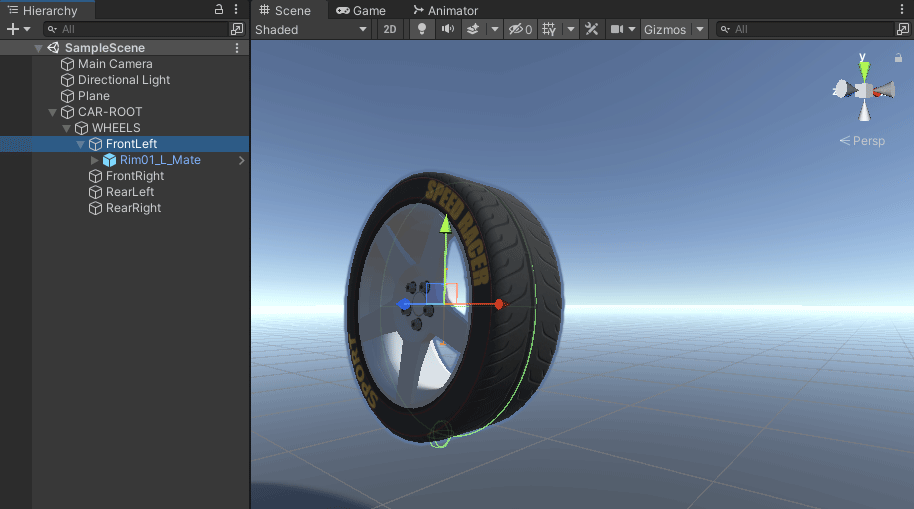 A tyre added to the wheel collider in Unity scene view