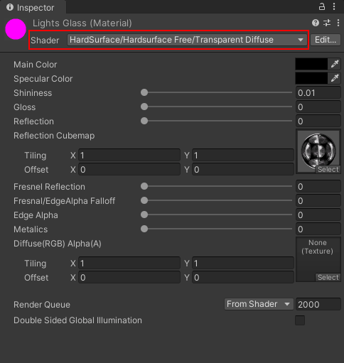 Changing the shader for a material