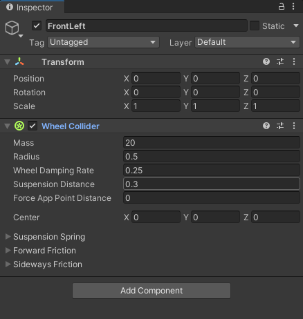 Setting for the wheel collider in the Unity Inspector