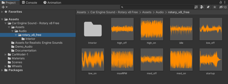 Audio files showing in the Project area of Unity