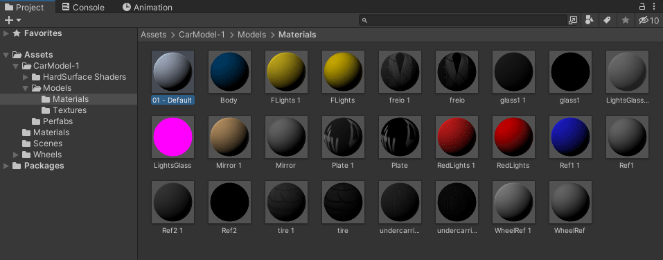 Materials in a project folder