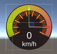 A 2d image of a speedometer