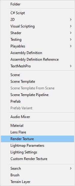 The Render Texture menu in Unity