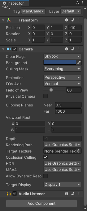 Unity 3D Inspector with the Main Camera selected.