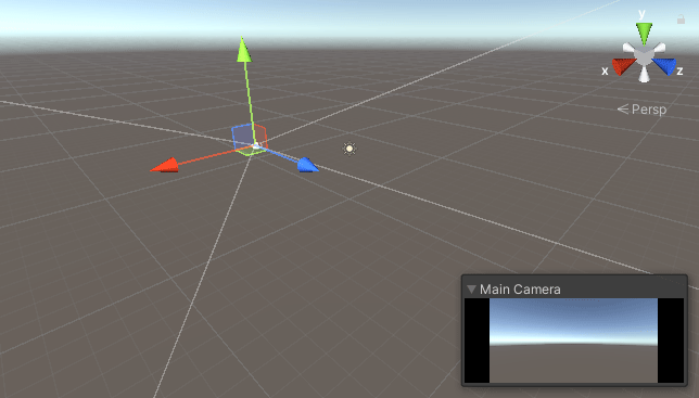 Scene view in Unity with the Main Camera selected