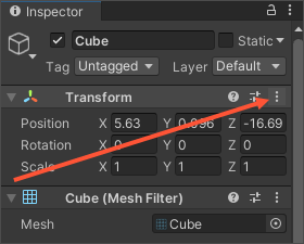 Unity Inspector showing the reset transform button