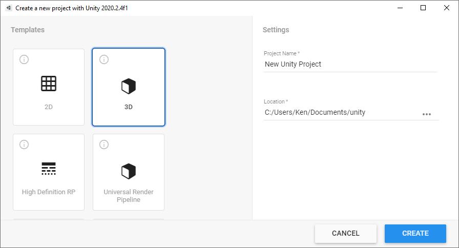 Unity Hub, new project dialog box