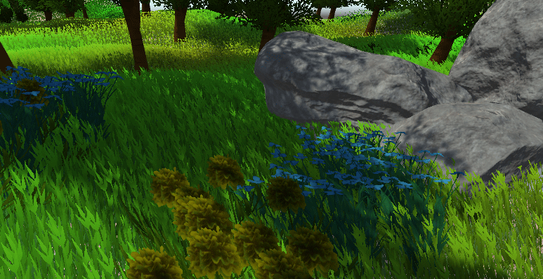 A Unity scene with some flowers added