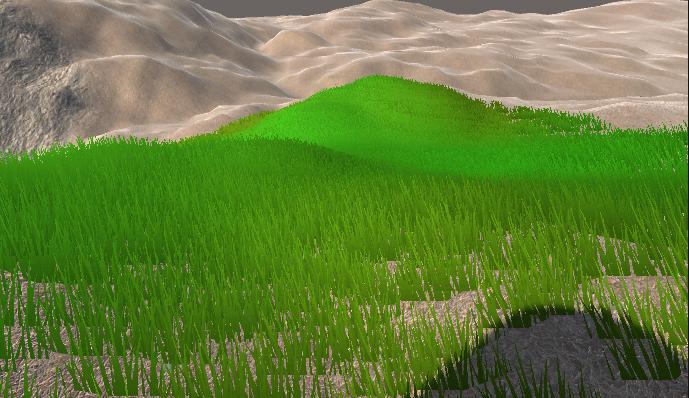 A grassy scene in Unity Game view