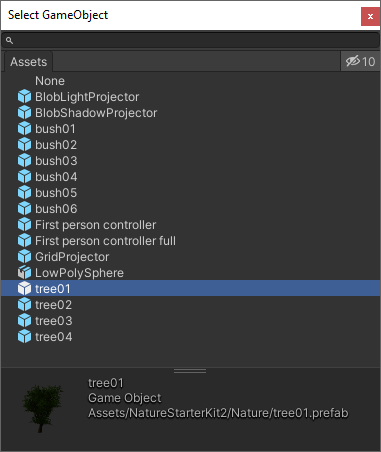 A list of tree game objects in Unity