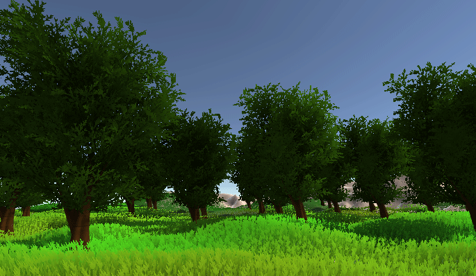 Unity Game view showing tress on a terrain