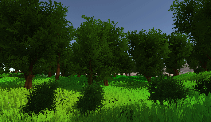 Trees and bushes on a terrain