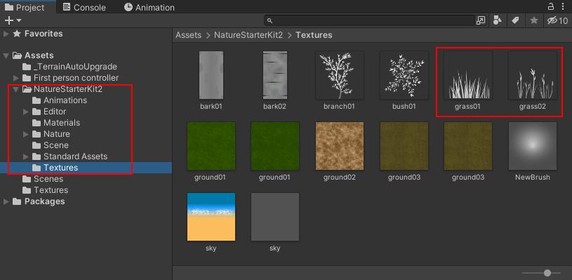 Grass textures highlighted