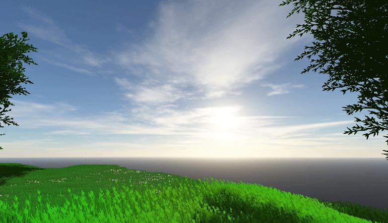 A scene with a custom skybox