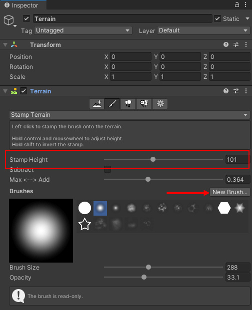 Stamp Terrain settings highlighted in the Unity Inspector