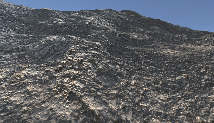 A mountain terrain in Unity Game view