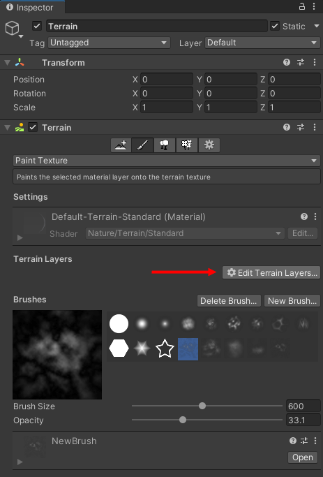 The Edit Terrain Layers button highlighted